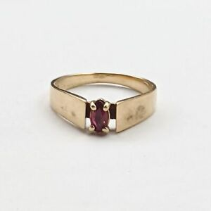 10k Yellow Gold Vintage Red Topaz Gemstone Solitaire Ring Size 6 $113.99