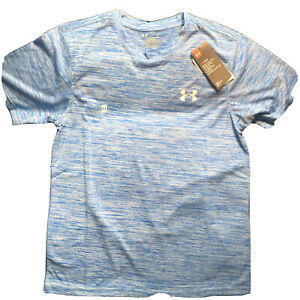 Under Armour NEW Mens S Heat Gear Loose T shirt Space Dye Royal White Small UA $16.00
