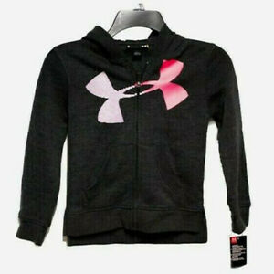 New Under Armour Little Boys Zip Up Logo Hoodie Size 6 Black MSRP $40.00 $17.40