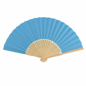 Gift Summer Lady Wooden Frame Handle Hollow Paper Folded Portable Hand Fan Blue