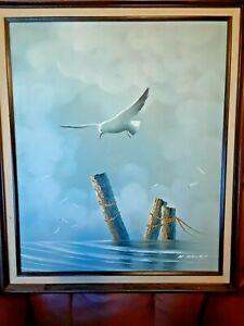 Vintage Oil On Canvas Seascape Painting Of Seagulls By Listed Artist H. Gailey $99.99