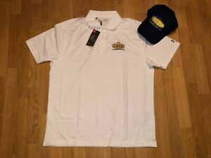 Under Armour White Golf Polo w Navy Blue Hat JARC Annual Golf XL NEW w Tags $4.99