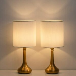 Set of 2 Vintage Bedside Lamp White Lampshade Nightstand Light Table Lamp Metal