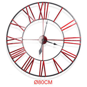 23.6quot; LARGE Outdoor Garden Wall Clock Big Roman Numerals Giant Open Round Face $28.99