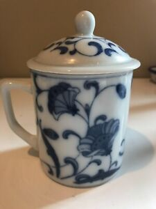 Beautiful Blue and White Porcelain Fine China Flower Tea Cup Mug with Cover Lid