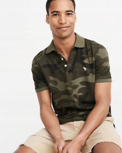 Abercrombie amp; Fitch Hollister Camouflage Polo Military Style Tee T shirt L