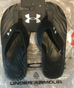 Under Armour Marathon Key IV T Black Thong Sandals Size 6Y USA New With Tags $22.00