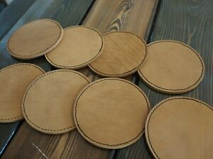 Marlondo Leather Coasters Set of 8 Round Brown Water Buffalo BLEMISH $22.00