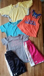 6 Pc Girl's Under Armour Active Athletic Clothes Lot Shorts Tank Top Shirt YSM $19.99