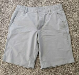 Used Mens Under Armour Light Gray Heat Gear stretch athletic casual shorts 38w $19.99