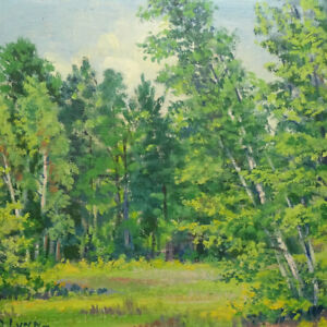 Antique Signed Original Summer Landscape Oil Painting G. D. Lynn Forest Meadow $125.00