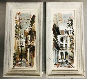 Pair Original Maggie Hartnett Vintage Paintings New Orleans Streetscapes $329.55