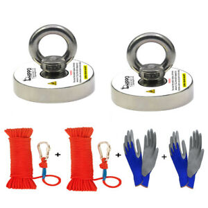 2X Fishing Magnet Kit 500 Lbs Pull Force Neodymium W Rope Carabiner amp; Gloves $42.99