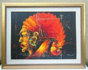 Signed Original Abstract Framed Painting on Canvas 56quot; x 44quot; Modern Art $134.99