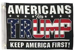 Americans For Trump Boat Flag Double Sided - 4 rows of stitching on the fly end!