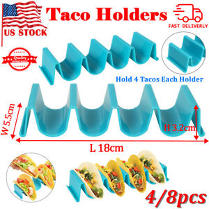 4 8PCS Wave Shape Taco Holder Mexican Food Rack Stand Kitchen Cooking Tool US