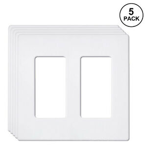 5PK BESTTEN 2 Gang Screwless Wall Plate Decor Switch GFCI Outlet Cover USWP6
