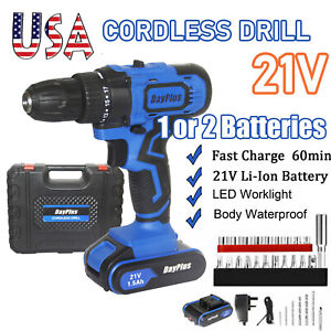 21V CORDLESS DRILL DRIVER 2 BATTERIES ELECTRIC POWER SCREWDRIVER WITH BITS SET