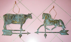 2 Metal Weather Vane Christmas Tree Ornaments Cow Horse Brass Copper Americana $39.95