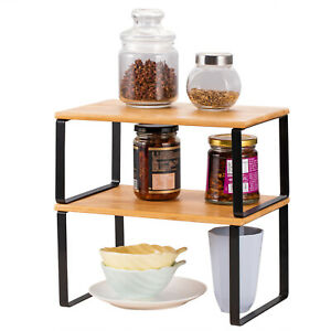 Kitchen Bamboo Cabinet Counter Shelf Storage Expandable Stackable Organizer 2PCS
