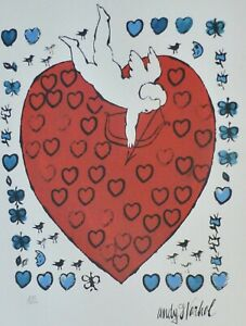 Andy Warhol Amor with 55 Hearts 1956 signed HAND NUMBERED 7111000 LITHOGRAPH $198.00