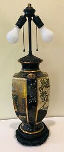 Vintage Japanese Satsuma Porcelain Vase Table Lamp Gold Gilt Hand Painted 28