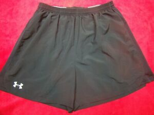 UNDER ARMOUR Mens Heat Gear Brief Lined Running Shorts Athletic Black Size XL $23.99