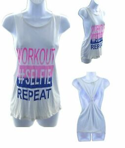 Popular Sports Workout Tank Top Womens Sleeveless Shirt White Casual Exercise $12.40