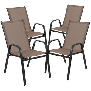 4 PACK All Weather Outdoor Patio Stakable Chairs in Brown Fabric amp; Metal Frame