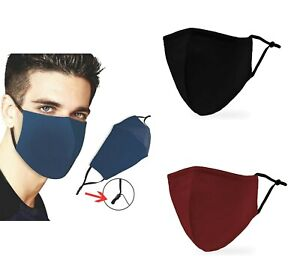 3 Layer Solid Color Reusable Washable Adjustable Face Mask with Filter Insert $7.99