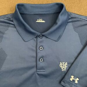 Mens UNDER ARMOUR Blue Solid Performance Golf Polo Shirt XL $21.99