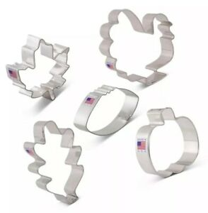 Ann Clark Cookie Cutters 5 Piece Thanksgiving and Fall Holiday Cookie Cutter