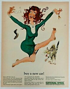 Original Magazine Print Ad 1967 for National Steel Promoting Car Sales