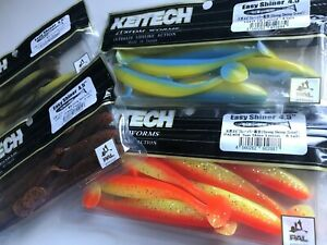 KEITECH Lures Easy Shinner 4.5quot; 6pcs JAPAN Strong Squid scented Drop Shot jig