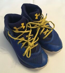 UNDER ARMOUR CURRY 3 'DUB NATION' BLUE YELLOW BASKETBALL SHOES KIDS YOUTH SZ 2Y $24.99