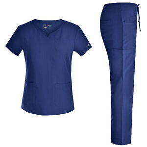 Stretch Women Nursing Scrubs Set Curved Notch Neck Doctor Slim Scrubs JYC302