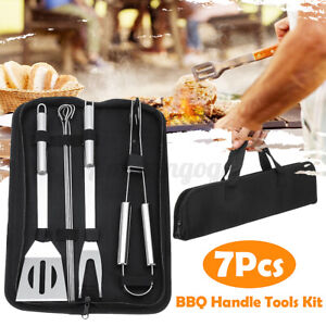 7Pcs Stainless Steel BBQ Barbecue Baking Shovel Gripper Sticks Fork Tools Set