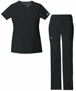 Cherokee Workwear Core Stretch Women#x27;s 24703 V Neck Scrub Top 24001 Pant Set