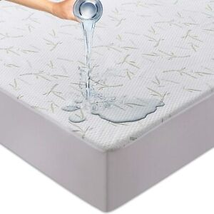 Waterproof Bamboo Mattress Protector Hypoallergenic Breathable Fitted Bed Cover