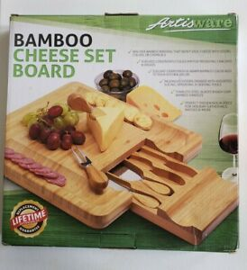 ArtisWare Bamboo Cheese Set Board and Serving Utensils Hidden Drawer Knife Fork