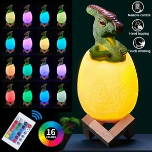 16 Colors LED 3D Magical Dinosaur Toys Night Light USB Rechargeable Touch Lamp