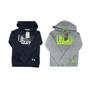 New Under Armour Big Boys Rival Logo Cotton Hoodie Black Gray Size YL YXL $19.81