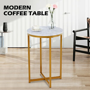 White Marble Coffee Table Nightstand Gold Metal Frame Living Room Home Furniture