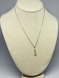 "Faux Diamond Pendant Necklace Silver Tone 16"" With 2"" Extender Statement Piece"