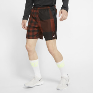 NEW Mens Nike Challenger 7 Checker Print Running Shorts Cinnamon Brown BV4854 L $28.01