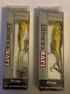 """Live Target Life Like Lures TopwaterLT Craw Frog Lot Of 2 Size 4 1 8"""" 5 8oz"""