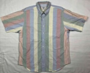 Brooks Brothers Sport Mens XL Multi Color Textured Striped Button Down Shirt A4 $24.79