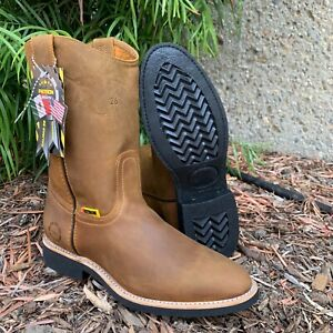 MEN#x27;S WORK BOOTS GENUINE LEATHER PULL ON CAMEL COLOR SAFETY WESTERN BOTAS ROUND