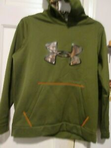 youth under armour camo green hunting style hoodie L YL pull over $13.99