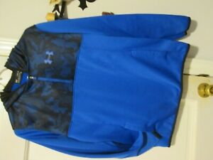 youth under armour pull over blue camo hoodie 3 4 zip xl boys $10.99